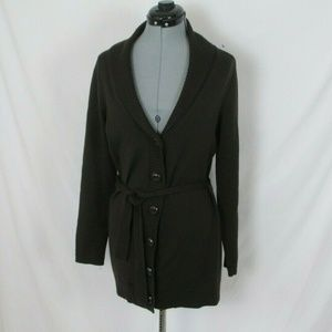 Ann Taylor Sweater Belted Merino Wool Brown Button